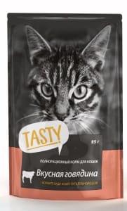 Tasty пауч для кошек со вкусом говядины в желе, 0.085кг