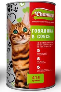 Chammy консерва для кошек 415 гр говядина в соусе