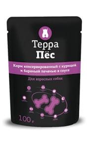 Терра Пёс влажный корм для собак со вкусом курицы и бараньей печени, 0.1кг