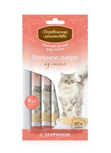 Лакомства Деревенские для кошек нежное пюре из лосося 4 * 10г