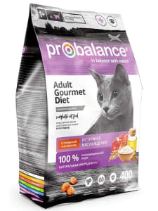 ПРОБаланс Gourmet Diet сухой корм для кошек говядина, ягненок, 0,4кг