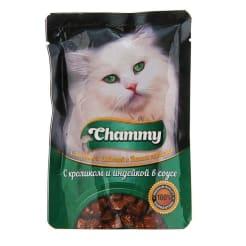 Chammy консерва для кошек 85 гр кролик и индейка в соусе