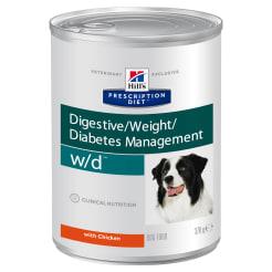 Влажный диетический корм для собак Hill's Prescription Diet w/d Digestive при поддержании веса и сахарном диабете, с курицей 0.37кг