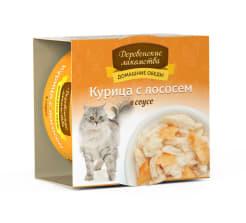 Деревенские лакомства консервы для кошек курица и лосось соус, 0.08кг