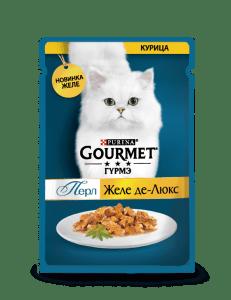Влажный корм Gourmet Перл Желе Де-Люкс для кошек, с курицей в роскошном желе, 0.075кг
