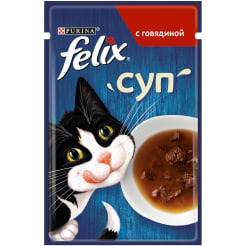 Влажный корм Purina Felix суп для взрослых кошек с говядиной, 0.048кг