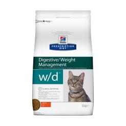 Сухой диетический корм для кошек Hill's Prescription Diet w/d Digestive при поддержании веса и сахарном диабете с курицей, 1.5 кг