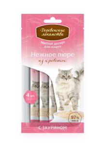 Лакомства Деревенские для кошек нежное пюре из креветок 4 * 10г