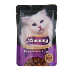 Chammy консерва для кошек 85 гр мясное ассорти в соусе