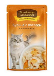 Деревенские лакомства консервы для кошек курица и лосось в желе, 0.07кг