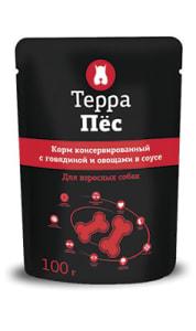 Терра Пёс влажный корм для собак со вкусом говядины и овощей, 0.1кг