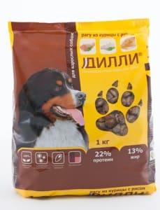 Сухой корм для взрослых собак Дилли со вкусом курицы с рисом,1 кг
