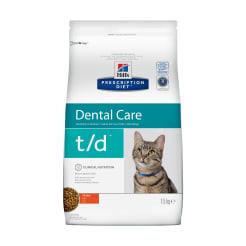 Сухой диетический корм для кошек Hill's Prescription Diet t/d Dental Care при заболеваниях полости рта с курицей, 1.5кг