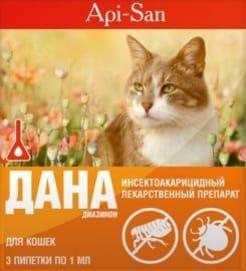 Капли на холку Дана Спот - Он для кошек более 3 кг 2 * 1 мл