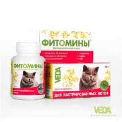Фитомины с фитокомплексом для кастрированных котов №100