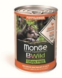 Monge Dog BWild GRAIN FREE Puppy&Junior беззерновые консервы из утки с тыквой и кабачками для щенков всех пород, 0.4кг