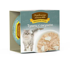 Деревенские лакомства консервы для кошек тунец и окунь соус, 0.08кг
