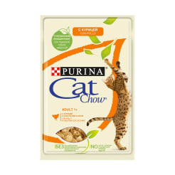 Влажный корм для кошек старше 1 года Purina Cat Chow Adult 1+, курица и кабачки в желе, 0.85кг