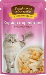 Деревенские лакомства консервы для кошек курица и креветки в желе, 0.07кг