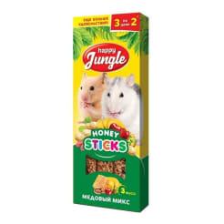 Лакомство для мелких грызунов Happy Jungle Палочки медовый микс 3 шт