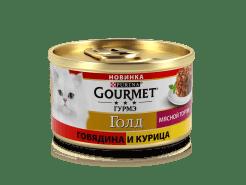 Влажный корм Gourmet Голд Мясной тортик для кошек, с говядиной и курицей, 0.085кг