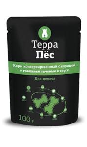 Терра Пёс влажный корм для собак со вкусом курицы и говяжьей печени, 0.1кг