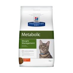 Сухой диетический корм для кошек  Hill's Prescription Diet Metabolic  способствует снижению и контролю веса с курицей, 4 кг