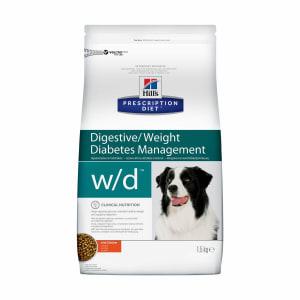 Сухой диетический корм для собак Hill's Prescription Diet w/d Digestive при поддержании веса и сахарном диабете с курицей, 1.5 кг