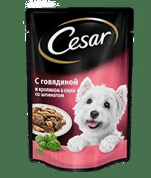 Cesar из говядины и кролика в соусе со шпинатом