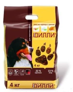 Дилли для собак со вкусом курица с рис, 4кг