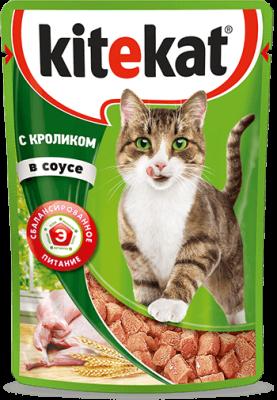 Kitekat пауч со вкусом кролика в соусе, 0.085кг