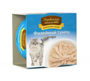 Деревенские лакомства консервы для кошек тунец соус, 0.08кг