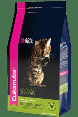 сухой корм Eukanuba для взрослых кошек редко выходящих на улицу HAIRBALL, 0.4кг
