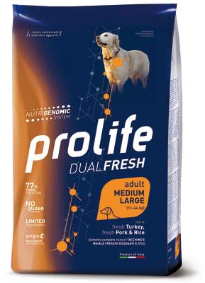 Prolife Dual Fresh Adult Medium/Large корм для собак со вкусом индейки, свинины и риса, 12кг