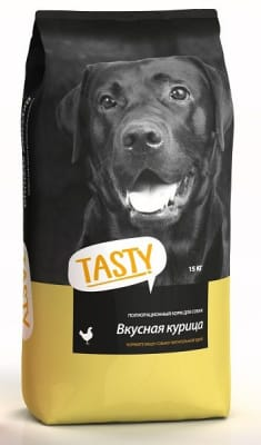 Tasty сухой корм для собак со вкусом курицы, 15кг