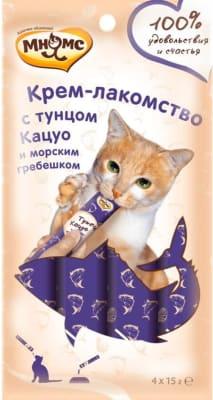 Мнямс Крем-лакомство для кошек с тунцом Кацуо и морским гребешком 15г х 4шт.