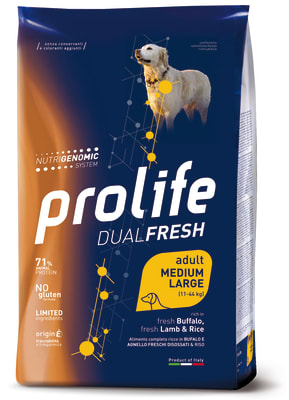 Prolife Dual Fresh Adult Medium/Large корм для собак со вкусом ягненка, буйвола и риса, 2.5кг