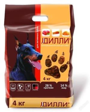 Сухой корм для взрослых активных собак Дилли, 4 кг