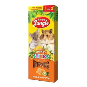 Лакомство для мелких грызунов Happy Jungle Палочки мед, фрукты 3 шт