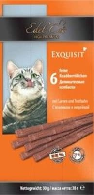 Лакомства для кошек Эдель Кэт, жевательные колбаски ягненок, индейка, 0.03кг