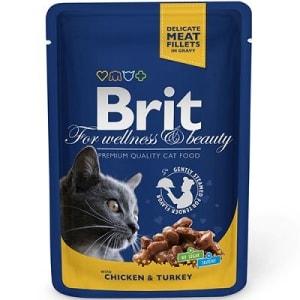 Brit Premium пауч для кошек со вкусом курицы и индейки, 0.1кг