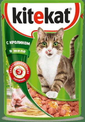 Kitekat пауч со вкусом кролика в желе, 0.085кг