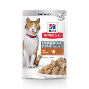 Влажный корм Hill's Science Plan для молодых стерилизованных кошек и кастрированных котов, пауч с индейкой в соусе, 0.085кг
