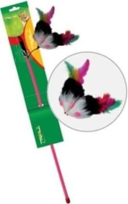 Игрушка для кошек Дразнилка удочка мышь с перьями