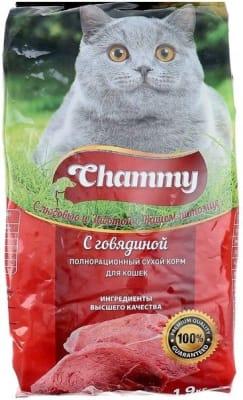 Chammy сухой для кошек 10 кг говядина