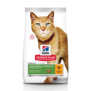 Сухой корм Hill's Science Plan Youthful Vitality для пожилых кошек (7+) для поддержания активности и жизненной энергии с курицей, 0.3 кг