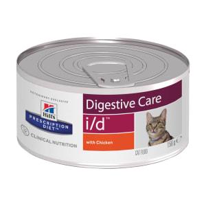 Влажный диетический корм для кошек и котят (консерва) Hill's Prescription Diet i/d Digestive Care при расстройствах пищеварения, жкт, с курицей, 0.156кг