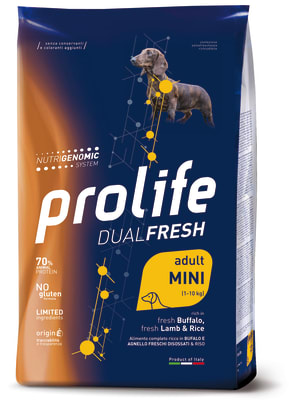 Prolife Dual Fresh Adult Mini сухой корм для собак со вкусом ягненока, буйвола и риса, 2кг