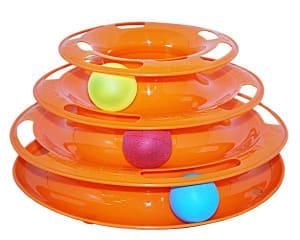 Игрушка для кошек № 1 Лабиринт 3 яруса с тремя мячиками 10100