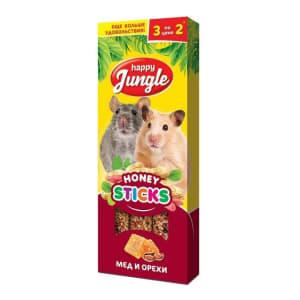 Лакомство для мелких грызунов Happy Jungle Палочки мед, орехи 3 шт